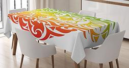 Rasta Tablecloth by Ambesonne, Lion Portrait in Vivid Colors