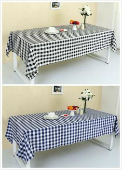 Rectangle Check Grid Tablecloth Plaid Table Cloth Linen Cott