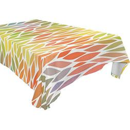 ALIREA Rectangle Colorful Leaves Abstract Tablecloth for Wed