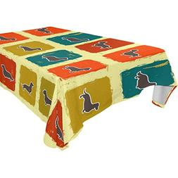 ALIREA Rectangle Dachshunds Dogs Tablecloth for Wedding Part
