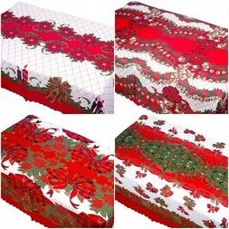 Rectangle Flower Christmas Red Tablecloth Polyester Table Cl