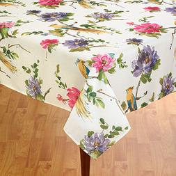 Rectangle oblong  fabric TABLECLOTH  floral tropical birds l