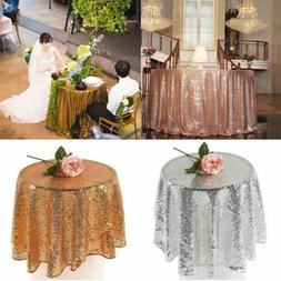 USA Round Sequin Tablecloths Table Cloth Cover Wedding Event