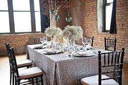 """B-COOL 60""""X102"""" Rectangle Silver sequin Tablecloth Sequin Ta"""