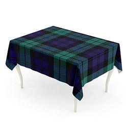 Emvency Rectangle Tablecloth 52 x 70 Inch Blue of Tartan Gre