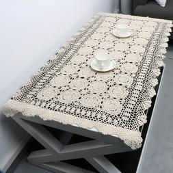 Rectangle Tablecloth Vintage Hand Crochet Cotton Lace Table