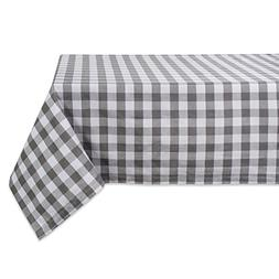 "DII 60x84"" Rectangular Cotton Tablecloth, Gray & White Check"