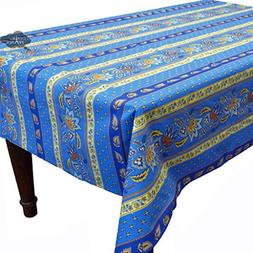 "60x96"" Rectangular Lisa Blue Cotton Coated Provence Tableclo"