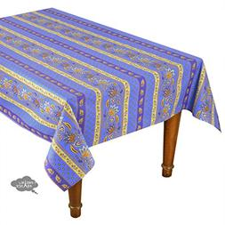 "58x84"" Rectangular Lisa Blue Cotton Coated Provence Tableclo"