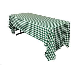 LA Linen Checkered Tablecloth, 60 by 126-Inch, Hunter Green
