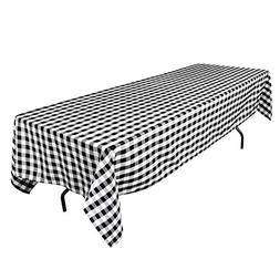 60 x 102 in. Rectangular Tablecloth Black White Checker