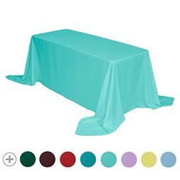 VEEYOO 90 x 156 inch Rectangular Solid Polyester Tablecloth