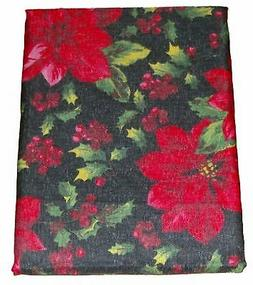 Holiday Home Red & Black Poinsettia Tablecloth Fabric Table