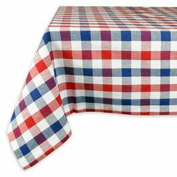 DII Red and Blue Check Tablecloth