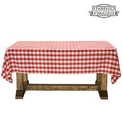 red and white checkered tablecloth polyester picnic