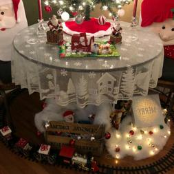 Red & White Christmas Table Cloth Cover Lace Tablecloth Home