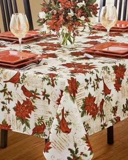 Red Cardinal Poinsettia Script Christmas Cloth Tablecloth 60