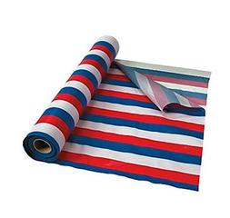 Red, White & Blue Striped Tablecloth Roll Comes Sealed! 100'