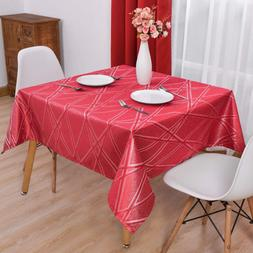 Hiasan Red Tablecloth Square With Silver Lines Waterproof Wr
