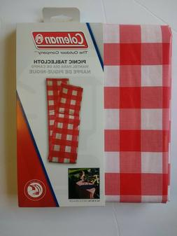 "Red/White Check Coleman Vinyl 54"" X 84"" Picnic Camping Outdo"