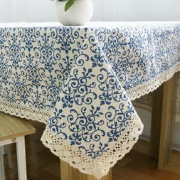 Retro Linen Cotton Tablecloth Dinner Table Washable Blue and