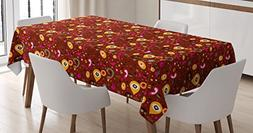 Ambesonne Retro Tablecloth, Fifties Sixties Inspired Composi