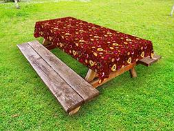 Ambesonne Retro Outdoor Tablecloth, Fifties Sixties Inspired