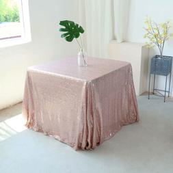 GFCC Rose Gold 50''x50'' Sequin Tablecloth Christmas Table C