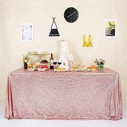 GFCC Sparkly Rose Gold Sequin Tablecloth 60x102 Inch Shimmer