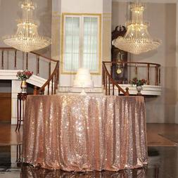 "PartyDelight Rose Gold Sequin Tablecloth Round 120"" Table Li"