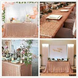 Sparkly Rose Gold Sequin Tablecloth Rectangle Table Overlay