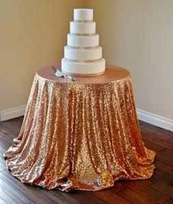 "120"" Rose Gold Sequin Tablecloth,Wholesale Wedding Beautiful"