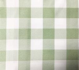 GFCC Round Check Polyester Tablecloth,Grass Green and White,