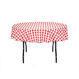 GFCC Round Check Polyester Tablecloth,Red and White, 90-Inch