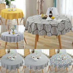 Round Colorful Table Cloth Cotton Linen Household Garden Din
