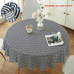 Round Cotton Linen Table Cloth Washable Easy Clean Kitchen S