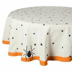 "DII 70"" Round Cotton Tablecloth, Black Stars - Perfect for H"