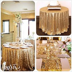 TRLYC 120Inch Round Gold Sequin Table Cloth for Thanksgiving