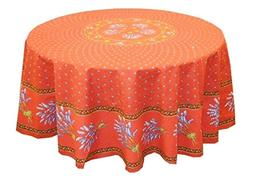 "68"" Round Lavender Red Cotton Coated Provence Tablecloth by"