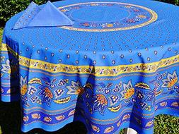 "68"" Round Lisa Blue Cotton Coated Provence Tablecloth by Le"