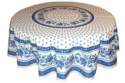 "68"" Round Lisa White Cotton Coated Provence Tablecloth by Le"