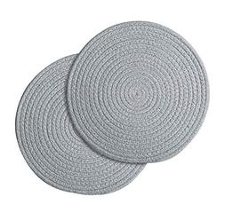 2 Pcs Round Placemats Japanese-Style Dining Table Pad Cloth