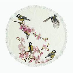 "iPrint 36"" Round Polyester Linen Tablecloth,Flying Birds Dec"