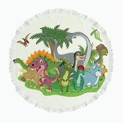 "iPrint 90"" Round Polyester Linen Tablecloth,Jurassic Decor,C"