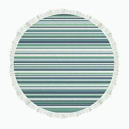 "iPrint 104"" Round Polyester Linen Tablecloth,Striped Decor,A"