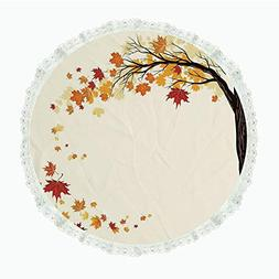 "iPrint 85"" Round Polyester Linen Tablecloth,Fall Decorations"