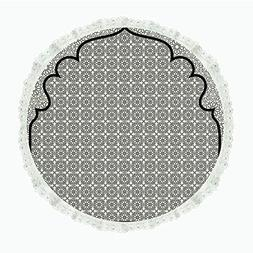 """iPrint 90"""" Round Polyester Linen Tablecloth,Moroccan,Arabian"""