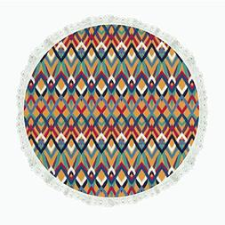 """iPrint 50"""" Round Polyester Linen Tablecloth,Ikat,Back Strapp"""