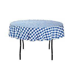 LinenTablecloth 70-Inch Round Polyester Tablecloth Blue & Wh