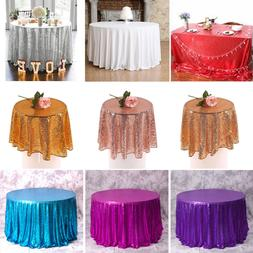 Round Sequin Rose Gold Table Cloth Cover Wedding Event Banqu